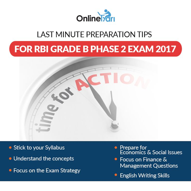 OnlineTyari brings you Last Minute Preparation Tips for RBI Grade B Phase 2 Exam 2017 to avoid any hassle. Visit http://buff.ly/2sikg2Z?utm_content=buffer01f2b&utm_medium=social&utm_source=pinterest.com&utm_campaign=buffer