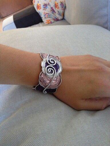 Bracciale rigido rosa-viola
