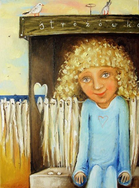 Guardian Angel's Holiday - oil painting by Monica Blatton