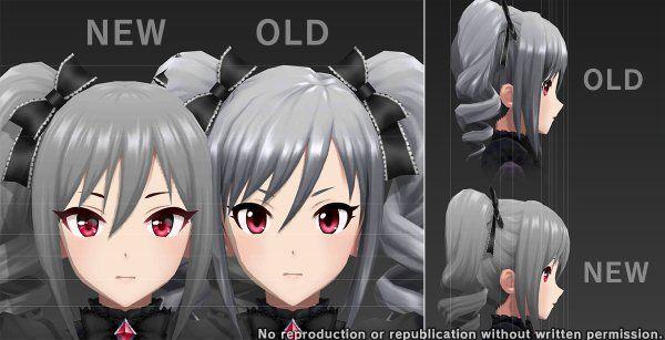 """Tampopoさんのツイート: """"今回のデレステ アップデート(5月31日)で、モデル修正されたキャラ ・神崎蘭子(N R SR SSR) 変更点 ・textureを更新 ・モデルを作り直し https://t.co/fkZ32HFPvs"""""""