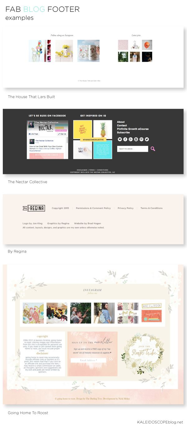 How to make the most of your blogs footer - examples of fab footers Kaleidoscope
