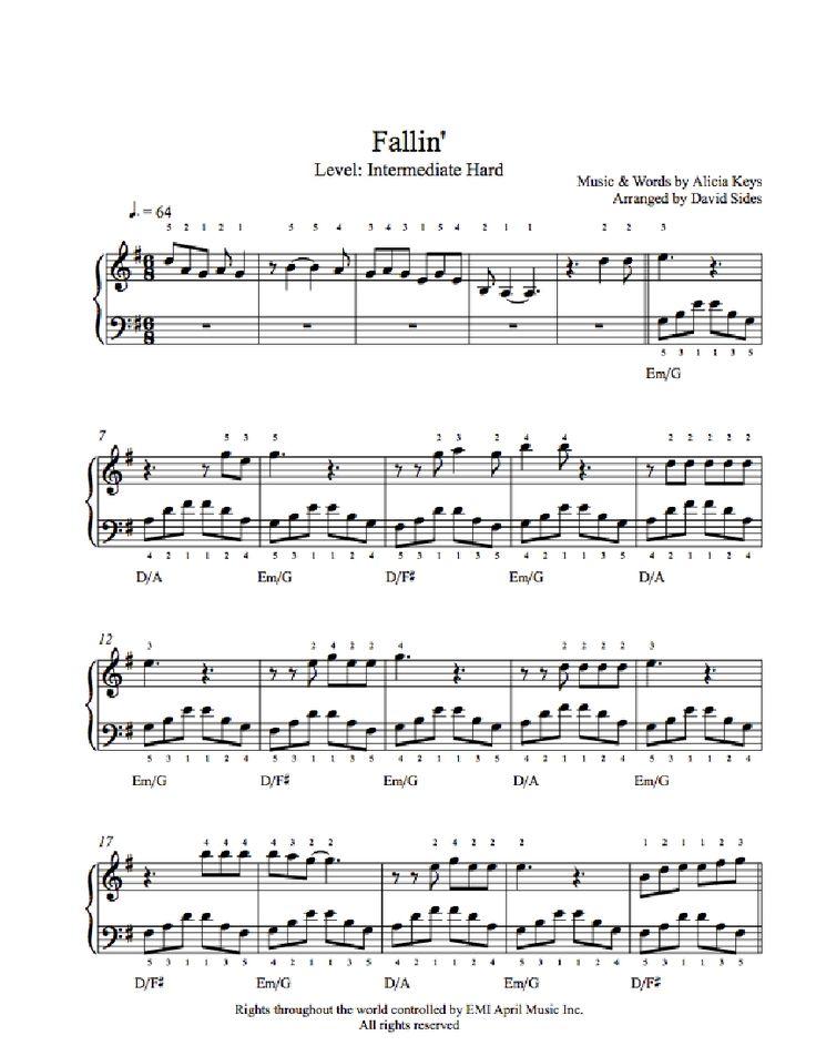 Fallin' by Alicia Keys Piano Sheet Music | Intermediate Level