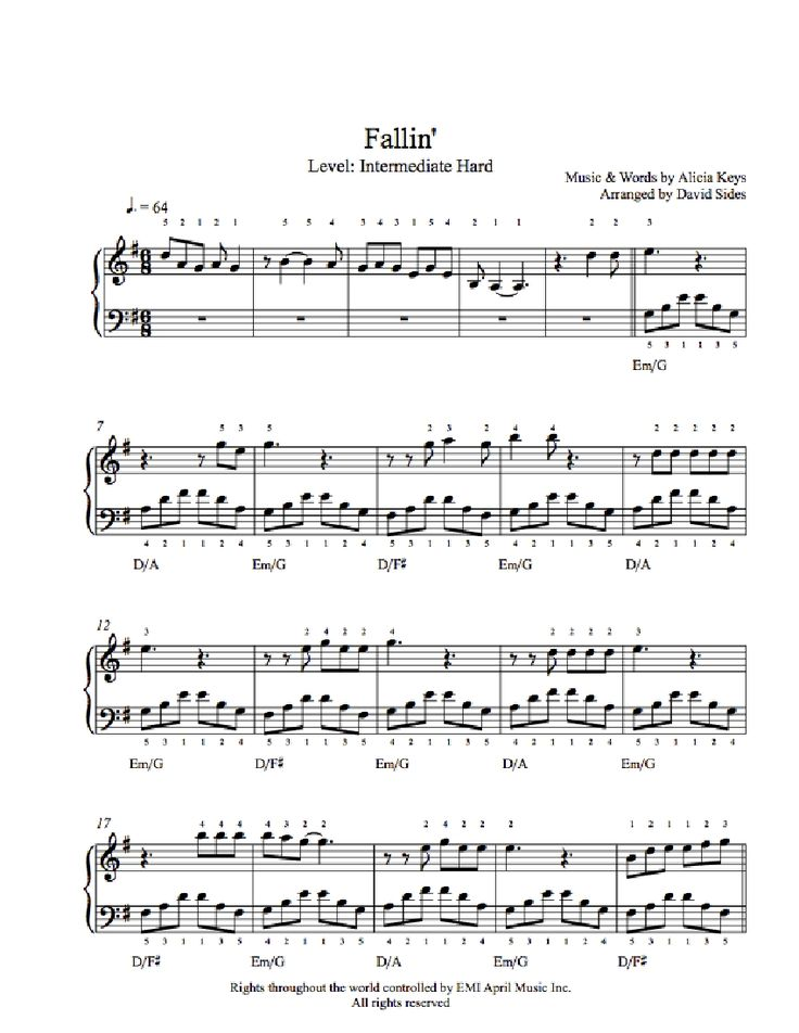 Fallin' by Alicia Keys Piano Sheet Music | Intermediate Level