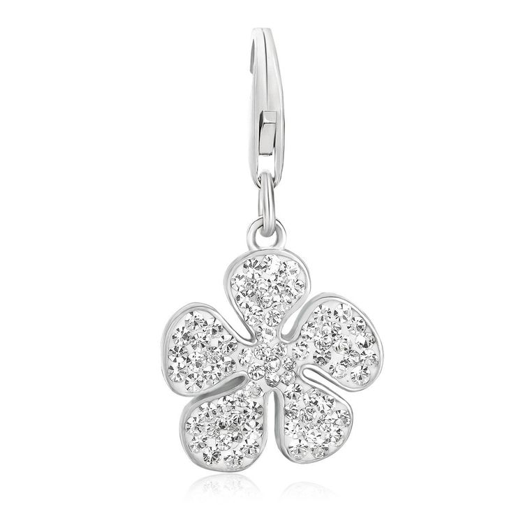 Sterling Silver White Tone Crystal Accented Clover Leaf Charm
