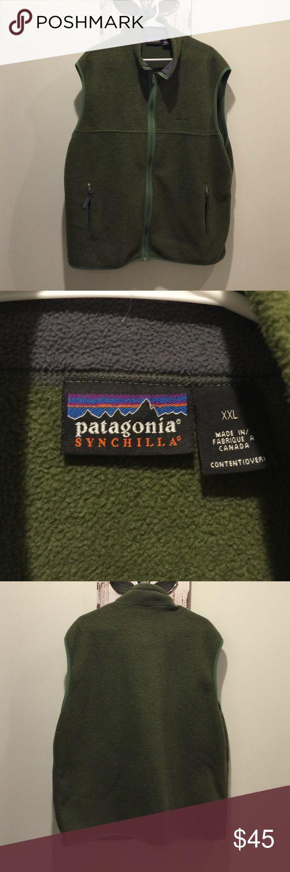 Men's Patagonia Synchilla Green Fleece Vest 2XL Men's Patagonia Fleece Full Zip Synchilla Green Vest.  EUC.  Size XXL 2XL. Patagonia Jackets & Coats Vests
