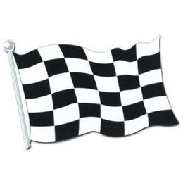 Autosport Finish Race Vlag cutout -  Een decoratie van een finish vlag. Afmeting: 45cm. Leuk voor een sport evenement, kinderfeest of gewoon als decoratie in een kinder of tiener slaapkamer.