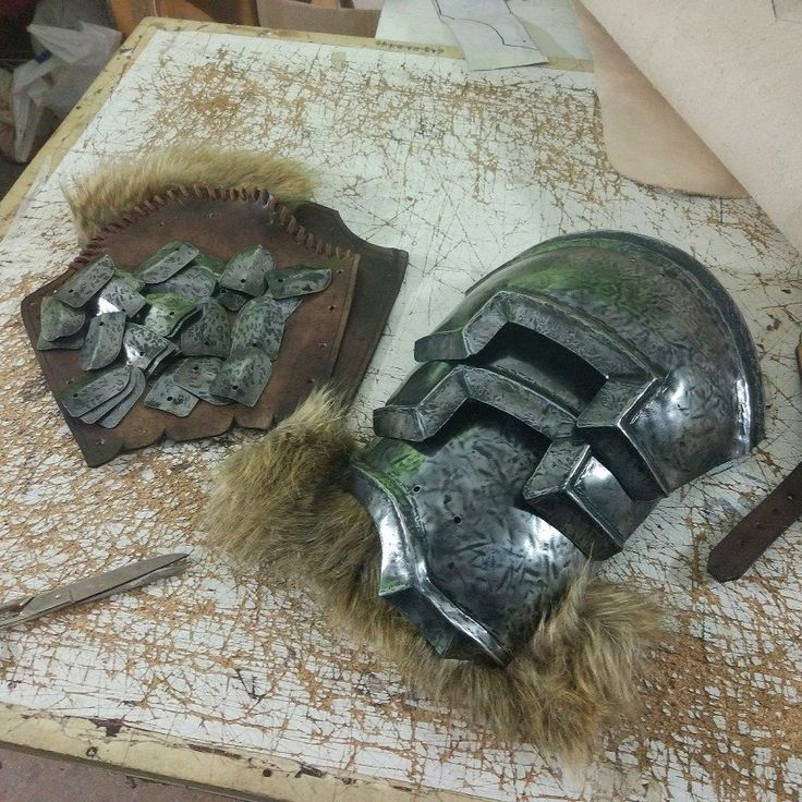 Nordic shoulder armor + pair of scale mail bracers WIP.