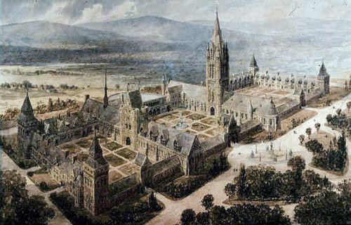 William Burges's plan for Trinity College campus, Hartford, Connecticut.