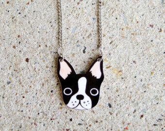 Boston Terrier collar de plástico retráctil
