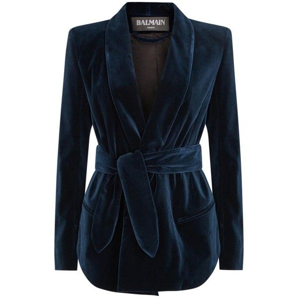 Womens Smart Jackets Balmain Navy Belted Velvet Jacket ($1,615) ❤ liked on Polyvore featuring outerwear, jackets, blue velvet jacket, balmain, padded jacket, velvet jacket and belted jacket