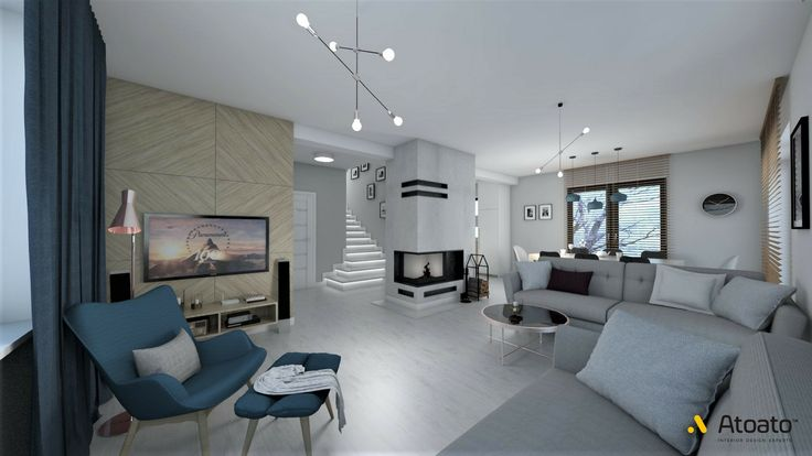 #atoato.pl #interior #design #modern #style #livingroom #fireplace #wood #colors #projektywnętrz #pasja #wnętrza #salon #biel #granat