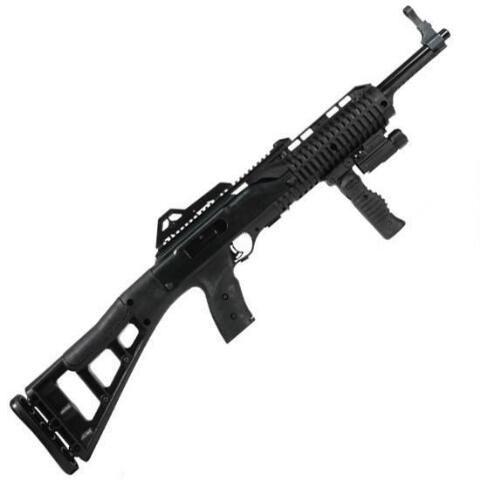 "Hi-Point Carbine Semi Auto Rifle .45 ACP 17.5"" Barrel 9 Rounds Polymer Stock Black Finish With Forward Grip and Flashlight 4595TSFGFL - 752334500045"