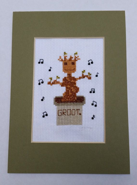 Cross-stitch him. | 9 Ways To DIY Your Very Own Baby Groot