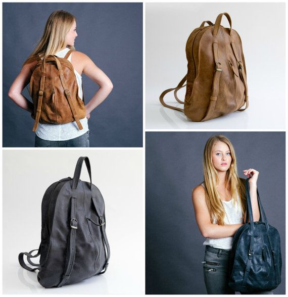Charcoal gray Leather BackPack Leather Tote Bag by maykobags