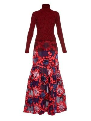 Madda roll-neck knit and fil coupé gown | Erdem | MATCHESFASHION.COM US