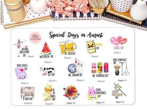Special Days in August Wacky Holiday Stickers for by StiandCo