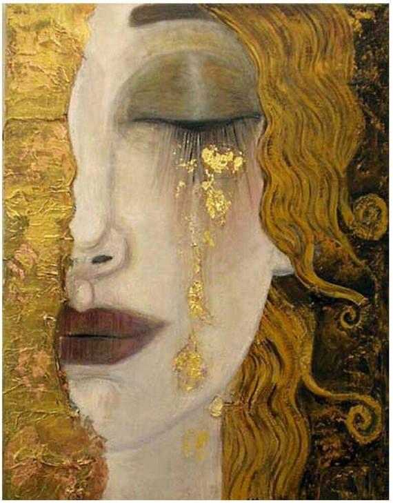 Freyas Tears by Gustav Klimt, 1900s art deco era, Goddess of love & sex, 8×10″ Print,Heartbroken woman, tears of gold, art deco art Courtney Brown-Rugh