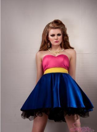 Chloe Sassy Dolls Dress,  Dress, Puffy Skirt  Blcok Colors  yellow  pink, Chic