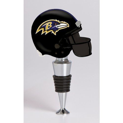 NFL Baltimore Ravens Helmet Wine Stopper by Evergreen. $19.99. Accented with a miniature NFL® team logo on top. Keeps wine freshOfficially licensed. Metal, polystone and rubber wine stopper. Made in China. Bring a touch of team pride to any football party with the NFL® helmet wine stopper! Crafted with metal, polystone and rubber material, it displays a miniature team helmet on the top and fits right in your wine bottle for optimum freshness.
