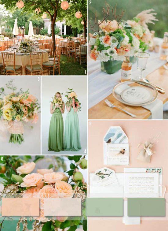 ... gruen dekoration brautjungfern Pfirsich pink Hochzeit Trendfarbe 2014