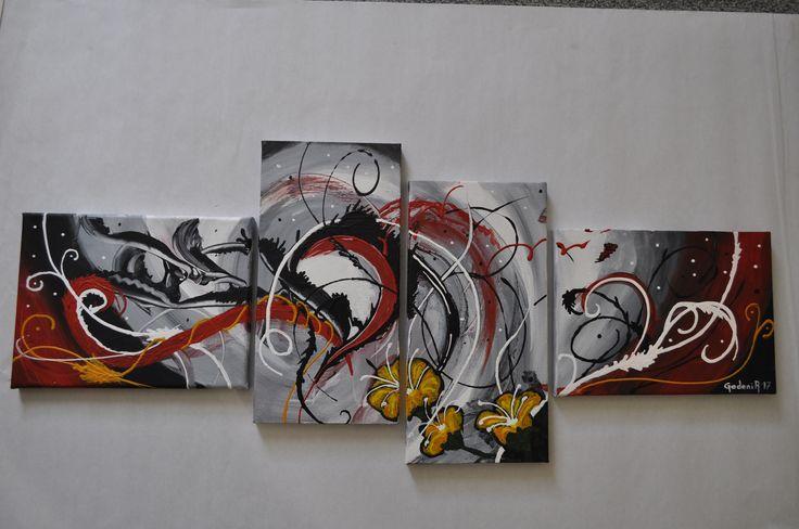 Quadriptyque acrylique, moderne et abstrait 4pcs, toile coton