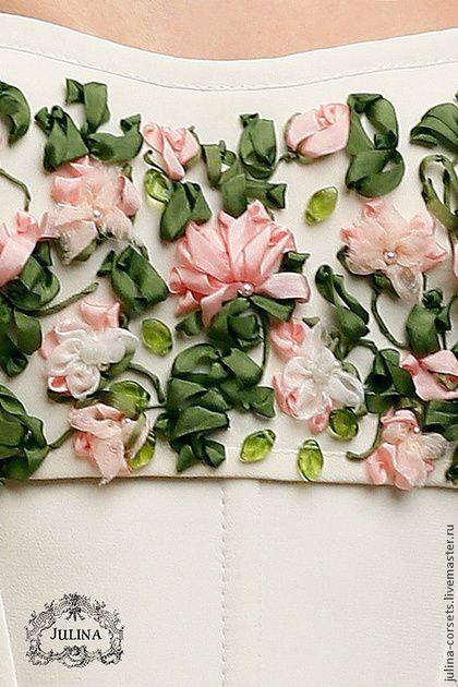 Купить Корсет Розовые Розы - бледно-розовый, белый, молочный, розы, цветы, невеста, корсет