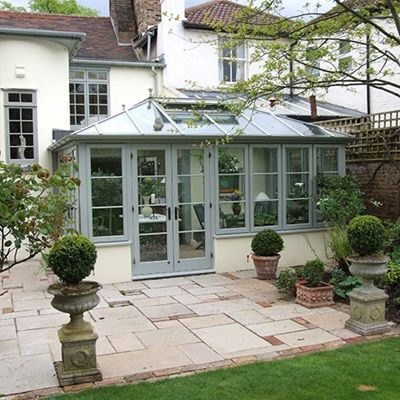 Wooden Edwardian conservatory in Sage green