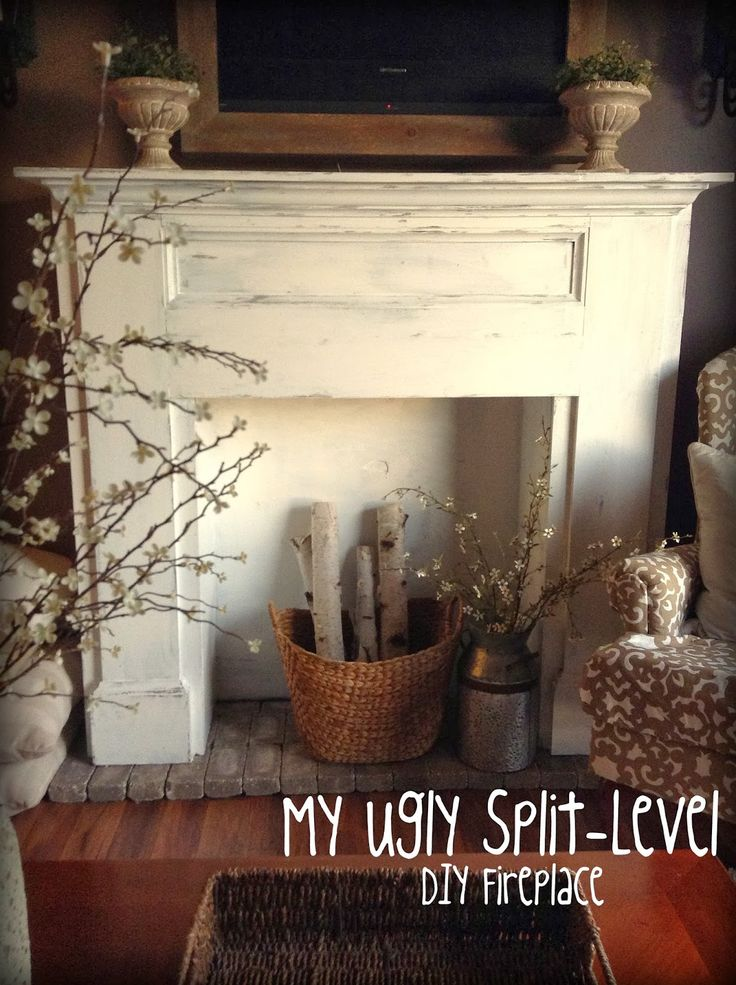 My Ugly Split-level: Living Room Update DIY fireplace