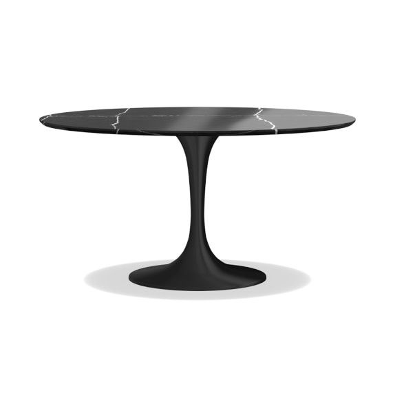 Tulip Pedestal Round Dining Table Aged Bronze Base Dining Table