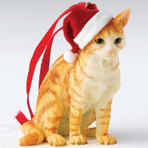 País Artistas - Ginger gato malhado de estar - Ornamentos de Natal de suspensão - CA00667