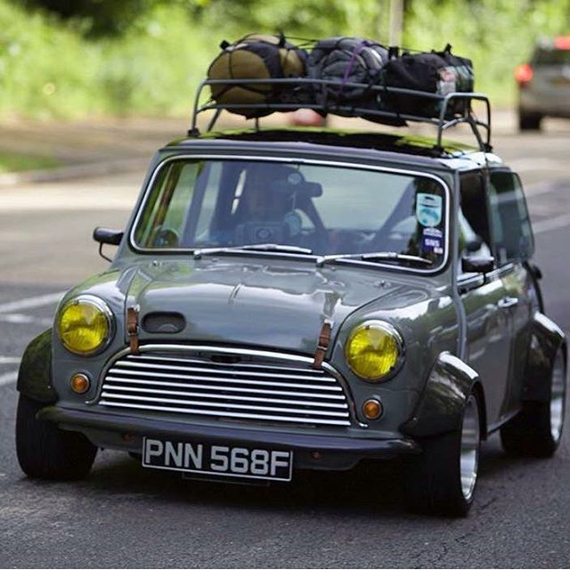 """Love the colour of this one and the epic #stance too #classicmini #slammed #retro #roofrack #wheels #deepdish #alloys #tweedgrey #minisofinstagram"" Photo taken by @minivation_ben on Instagram, pinned via the InstaPin iOS App! http://www.instapinapp.com (10/25/2015)"