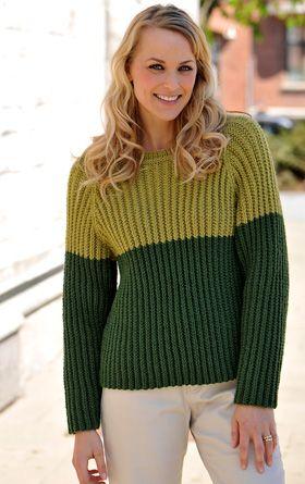 Strikket sweater i to farver