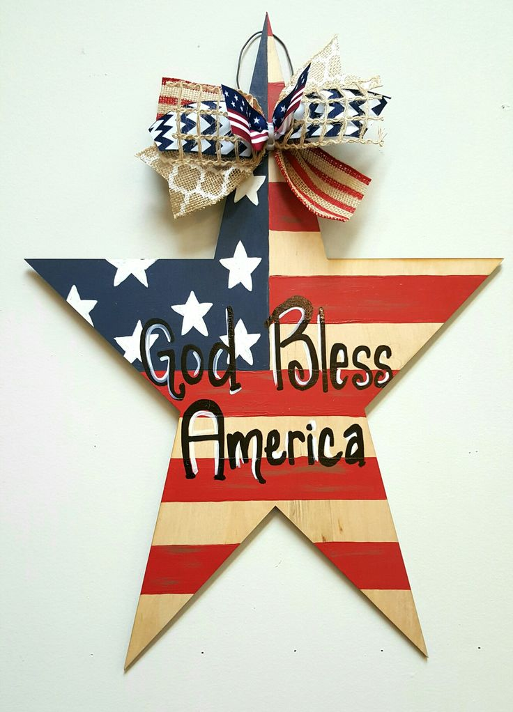 Patriotic Star Wooden Door Hanger ☆ God Bless The USA Door Hanger