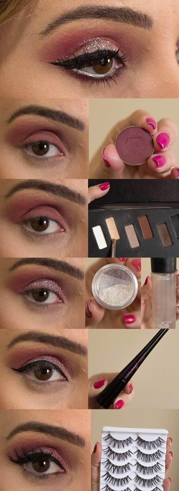 Maquiagem Marsala com Brilho - tutorial completo de maquiagem com passo a passo, uma maquiagem chique com brilho para festas, confira e aprenda a fazer.