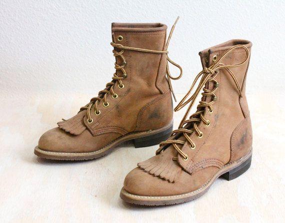 Vintage rustieke tarwe lederen laarzen Sz 5.5 door donohovintage