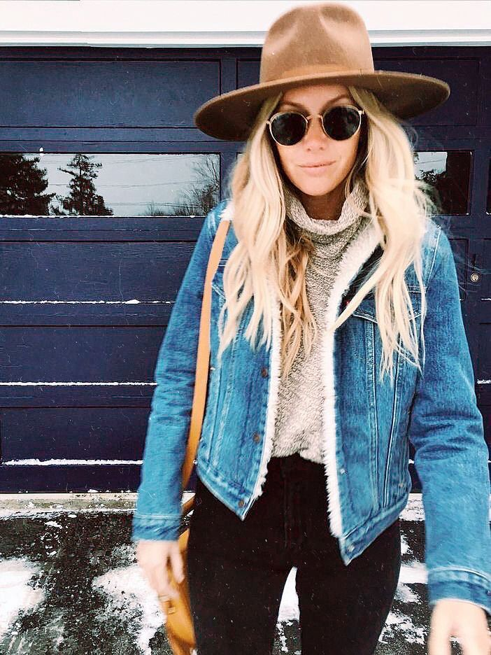 this hat, this denim shearling jacket, this cowl neck sweater - i love everything about this outfit