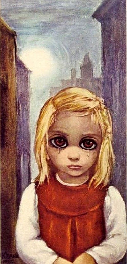 Margaret Keane: Mother of Big-Eye Art  I have this print!  Got it at an antique shop around Christmas because it reminded me of the portraits of myself as a toddler where I would cry before the photo shoot.