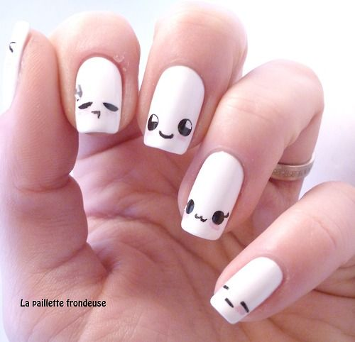 Kawaii easy to do free hand nails