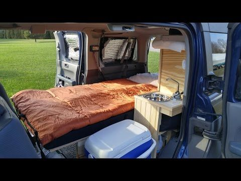 "Honda Element ""Narwhale"" Bed - YouTube slat bed resting on side lips, can be rolled up"