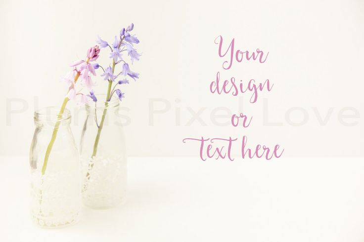 Styled Stock Photos | Bluebells | instagram | lace | Overlay text | Digital Image | business promotion| copy space | milk bottles | SSP56 by plumspixellove on Etsy