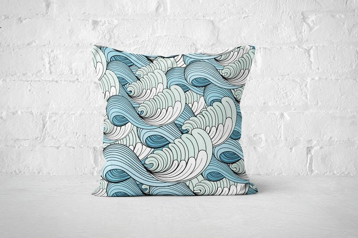 Excited to share the latest addition to my #etsy shop: Waves Pillow Cases | Blue Throw Pillow Covers | Accent Pillows | Bed Pillow Cases | Decorative Pillows | Boho Pillows | Blue Decor | Ocean