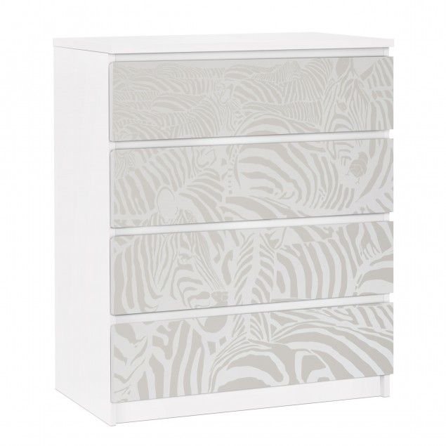 Perfect  M belfolie f r IKEA Malm Kommode selbstklebende Folie No DS Zebrastreifen Hellgrau
