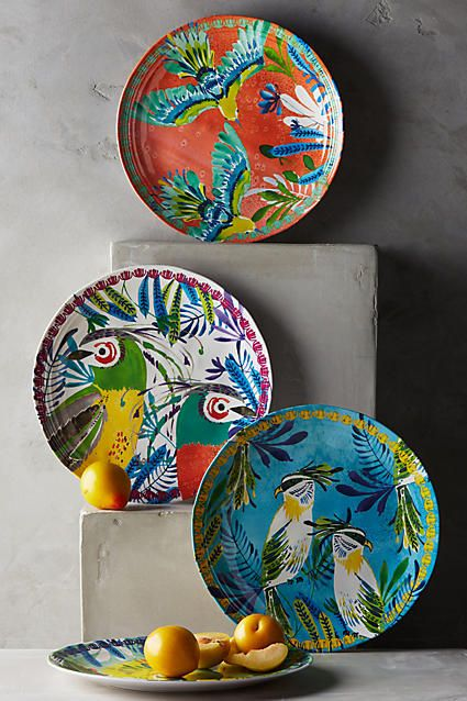 Aperta Melamine Dinner Plate - Brighten up your tabletop with a tropical inspired palette! These vibrant plates are crafted from lightweight-yet-sturdy melamine, making them perfect for al fresco meals, picnics and garden parties. #anthrofave #anthropologie #anthroregistry