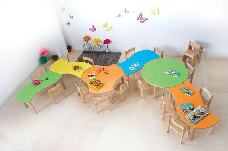 Tavolino componibile per bambini, bordi e spigoli arrotondati, differenti colori e forme, per asili e scuole materne
