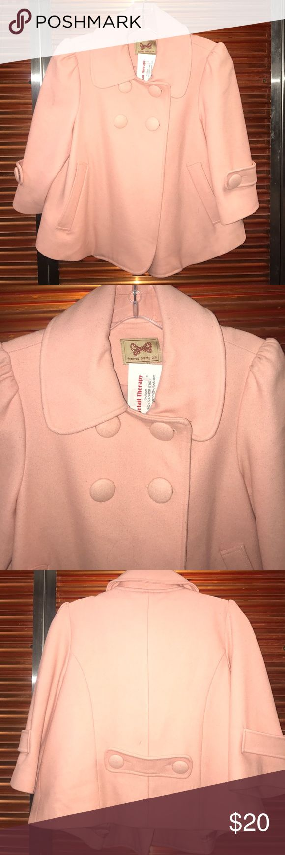 Women's Peacoat Women's peacoat style cropped jacket! Gently used w a few small wear marks on back, please see pics for better detail  Forever twenty one Jackets & Coats Pea Coats