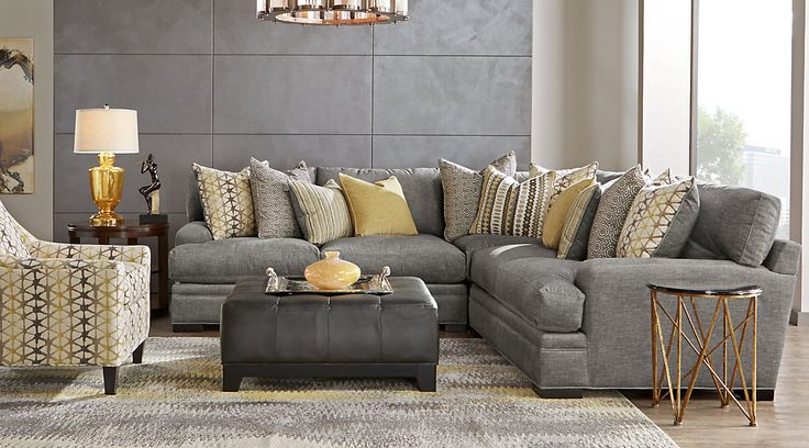 Affordable Gray Sectional Living Rooms &  Sofa Sets: fabric, microfiber, and more. Variety of styles: classic, casual, contemporary, reclining. Shop for 2, 3, 5, 7 piece sets with sofas, loveseats, ottomans etc#iSofa #roomstogo