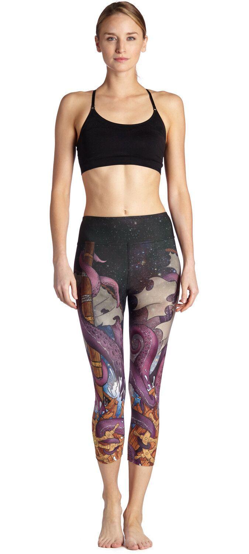 New Popular LOVE SPARK Ocotpus Women Sports Tights Pants S M L 3D Print Elastic Capris Pants For Gym Clothes