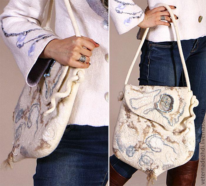 Купить или заказать Валяная сумка 'White Sea' в интернет-магазине на Ярмарке Мастеров. Валяная сумка 'White Sea' понравится, как молодым девушкам, так и дамам бальзаковского возраста. Валяная сумка- модный и удобный аксессуар, закрывается валяная сумка на магнитную кнопку искусно вваляную в войлок. Внутри сумки есть цельноваляный кармашек для милых дамам мелочей. Валяная сумка выполнена на М К Ольги Демьяновой. Сваляно с Любовью! Работа включена в коллекции: Ночные грезы остал...