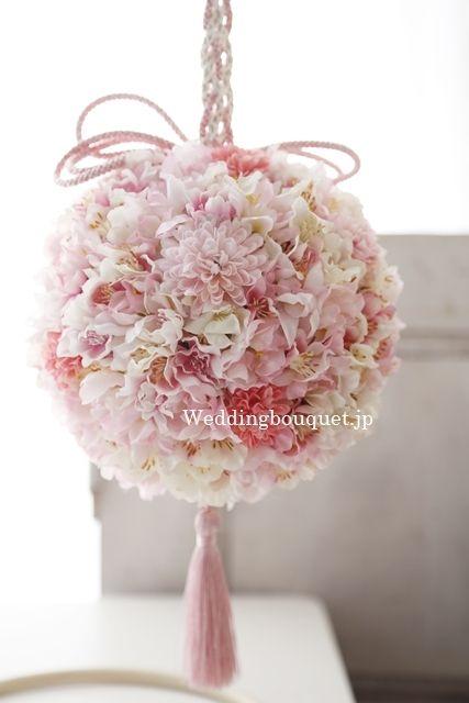 桜の季節がやってきました、シルクフラワー和装用ボールブーケ |シルクフラワー(造花)のウェディングブーケのデザインと選び方