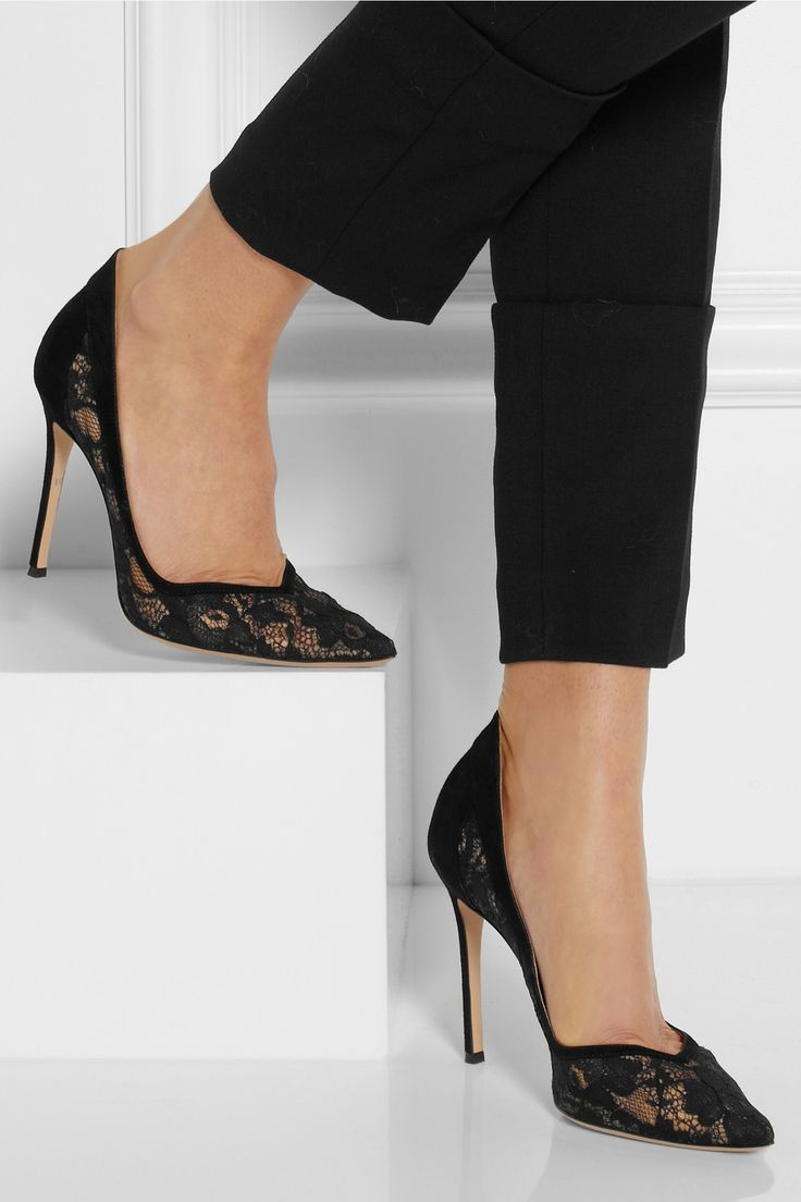 Gianvito Rossi|Lace and suede pumps|NET-A-PORTER.COM